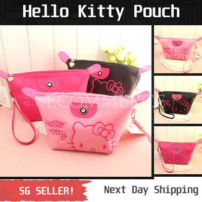Qoo10 - Hello Kitty Makeup Pouch   Cosmetic Pouch  Black   Rose   Pink   Bag    Wallet ddc7f62a5a8b0