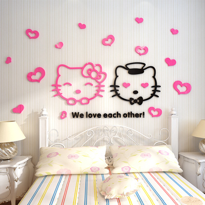 Hello kitty3D stereo wall sticker childrens room stickers acrylic bed  living room bedroom wall decor