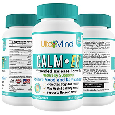 Herbal Supplements CALM-ER Anxiety Supplement - Extended Release Stress  Relief w Fast Acting Herbal