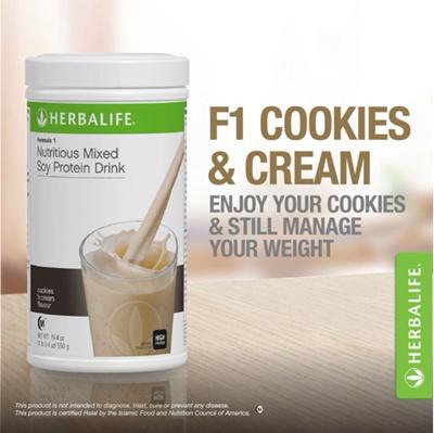 Herbalife Formula 1 Nutritional Shake Mix Cookies N Cream Diet Body Slimming Meal Replacement