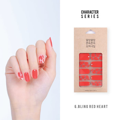 Hernine Diy Gel Nail Sticker Bling Red Heart Mochinail Premium Quality Made In Korea