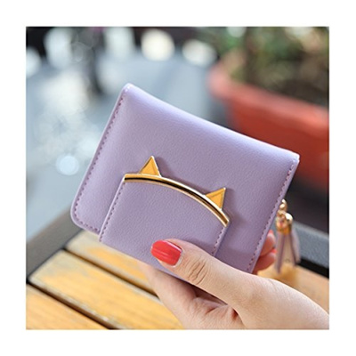 3443478aada8 (HeySun) HeySun Women s Adorable Small Wallet Cat Ears Coin Purse Money  Clip Designer Card Case-