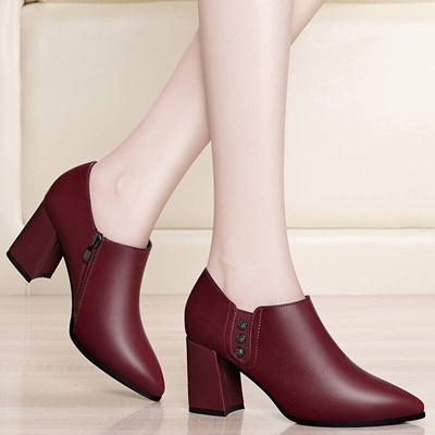 6d4f8d9ff70 Qoo10 - High Block Heel soft face single leather shoes for children Pointed  To...   Men s Bags   Sho.
