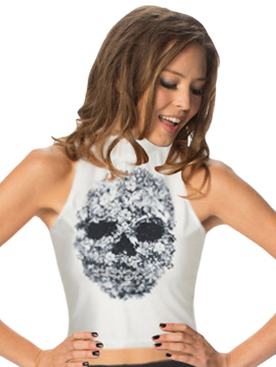 5dc13729bc Qoo10 - High Collar Unique Skull Pattern White Tank Top : Women's Clothing