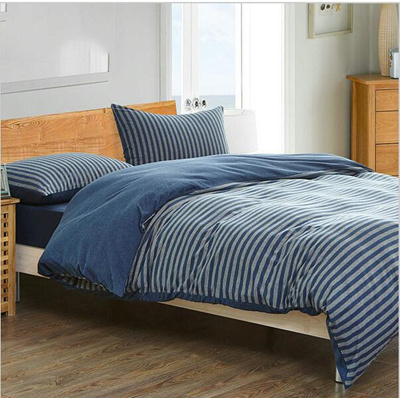 High Quality 100% Knitted Cotton Bedding Set 4pcs Muji Fitted Brief Long  Stripe Cotton Bed