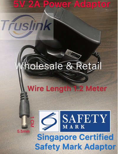 High Qualty 5V 2A Power Adaptor for Android TV Box Singapore Certified  Safety Mark Wholesale+Retail