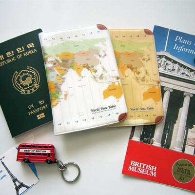 Qoo10 - Himori / WORLD TIME ZONE MAP PASSPORT COVER HOLDER_World ...