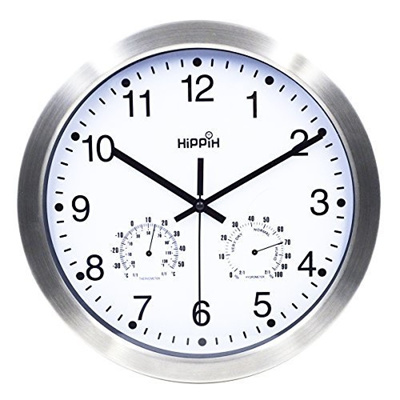 Qoo10 - Hippih 12 Inch Silent Non-ticking Wall Clock- Metal Frame ...