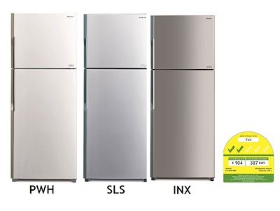 hitachi refrigerator 2016. hitachi 395l top freezer refrigerator (r-v480p3ms)- singapore warranty 2016
