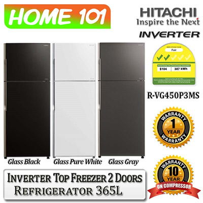 hitachi inverter top freezer 2 door 365l rvg450p3ms