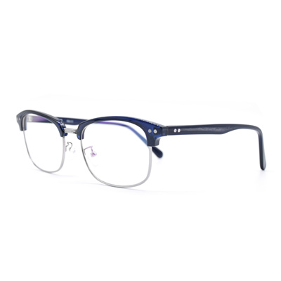 b659a99e82 Qoo10 - HKUCO Classic Half Frame Clear Lens Eyewear Dark Blue Frame Glasses    Fashion Accessories