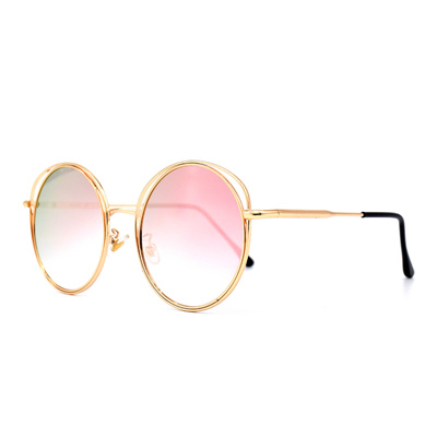 db3b5ee728 HKUCO Gold Color Round Metal Frame Double Circle Design Pink Mirrored  Lenses Sunglasses