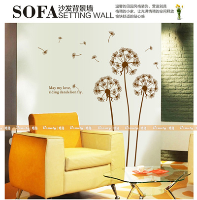 Home Decorating Bedroom Living Room TV Background Wall Stickers Flower Wall  Stickers New Dandelion W
