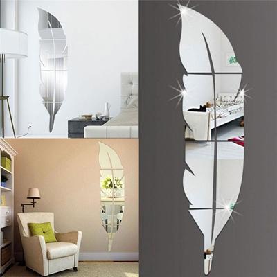 Home Decoration 15*72cm DIY Feather Pattern Acrylic Mirror Effect Sticker  Wall Sticker