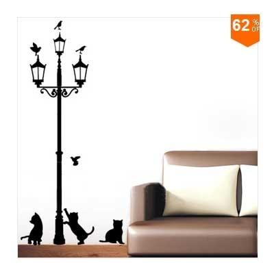 Home Decoration 3 Little Cat Under Street Lamp DIY Wall Sticker Wallpaper  Art Decor Mural Room