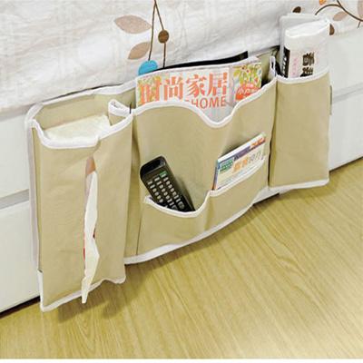 Home Decoration Bedroom Over Bed Hanging Storage Hangers Bag Pocket Beige