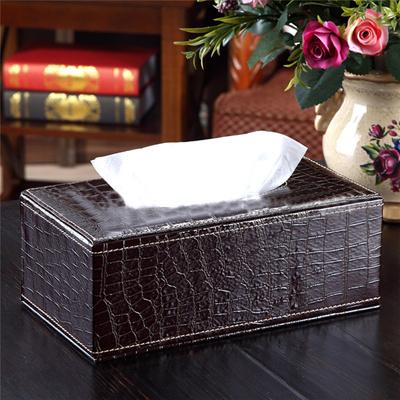 Home Decoration Tissue Box Cover Napkin Holder Napkin Paper Holder Case  Crocodile Style Home PU Leat
