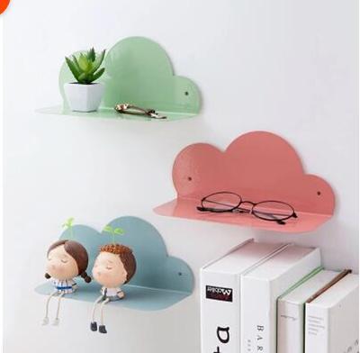 Qoo10 - Home Iron Cloud Wall Shelf Free Punch Wall Hanging Storage ...