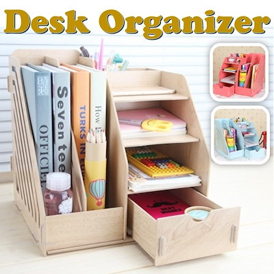 Home Or Office Multi Purpose Wooden Desk Storage And Table Organizer File