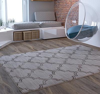 (Home Way) Grey Geometric Traditional Distressed Area Rug Modern Vintage  Transitional Rug Soft Li