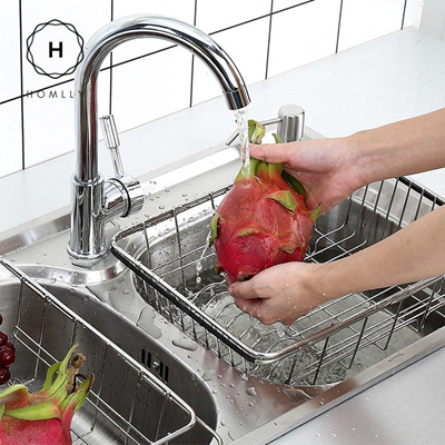 Homlly Homlly Expandable Stainless Steel Sink Dish Drainer