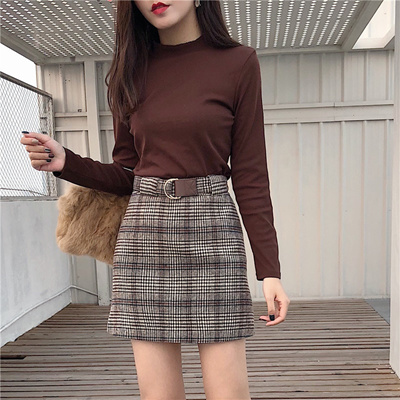 2130126a5 Qoo10 - Hong Kong chic high waist retro plaid skirt female tide autumn and  win... : Women's Clothing