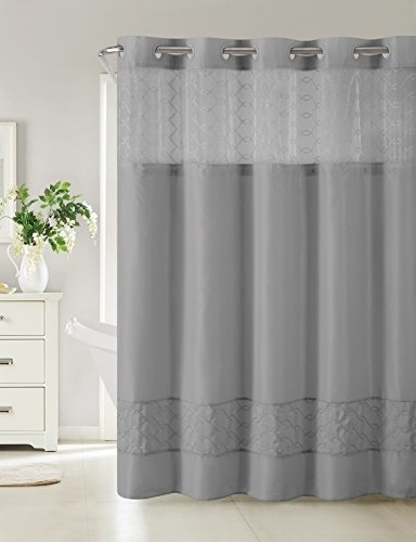 Hookless RBH40MY095 Downtown Soho Shower Curtain With PEVA Liner