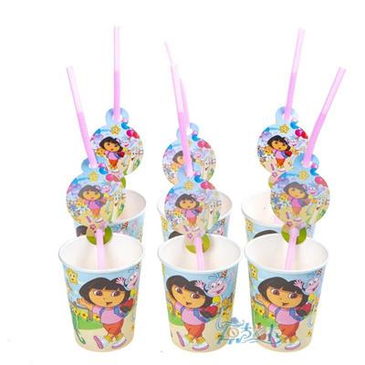 Qoo10 Hot 6pcsbag Dora Party Supplies Drinking Straws Cartoon