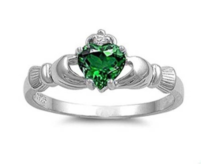 heart emerald ring shaped gold w diamond halo white pav in