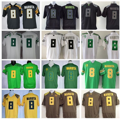 timeless design 7f489 faeef Hot Sale 8 Marcus Mariota Jersey College Oregon Ducks Football Jerseys  American Green Black Yellow W