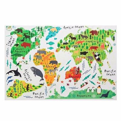 Hot Sale Great Colorful Animal World Map Kids Room Decor Wall Sticker Wall  Decals Wallpaper Mural DIY Art Nursery Decor