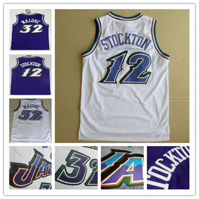purchase cheap dadbf 5a67f Hot Sell Authentic Utah #12 John Stockton Jersey #32 Karl Malone Jersey  Purple White Throwback Snow