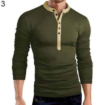Hot Seller Mens Fashion Button V-Neck Long Sleeve T-Shirt Solid Color Slim 03d08b65184c