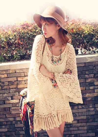8e3ab6795a2 Hot Vintage Hippie Boho Bell Sleeves Gypsy Festival Fringe Lace Mini Dress Tops  Blouse