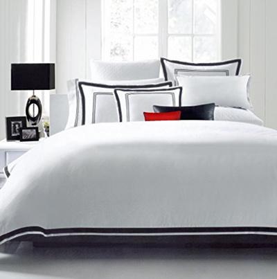 Hotel Luxury 3pc Duvet Cover Set Elegant White Black Trim Quality Design Wrinkle Fade Resistant Bedding King Cal