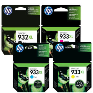 HP 932XL 933XL High Yield Black Cyan Magenta Yellow Original Ink Officejet  7612 7610 7110 6100 6600