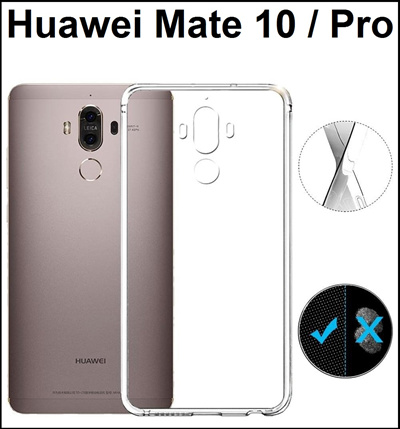 quality design 8acdf b605c Huawei Mate 10 / Huawei Mate 10 Pro Transparent Crystal Clear Case /  Tempered Glass Screen Protector