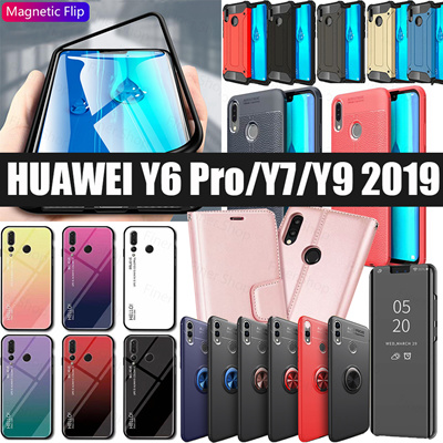 sports shoes b299e d1a5c Huawei Y6 Pro 2019 Y9 2019 Y7 2019 Tempered Glass screen Protector Leather  case cover