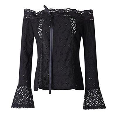 d7d03ab550226 Hunzed Women Fashion Long Sleeve Tank Top Summer Off Shoulder Shirt Tops  Lace Loose Vest Blouse