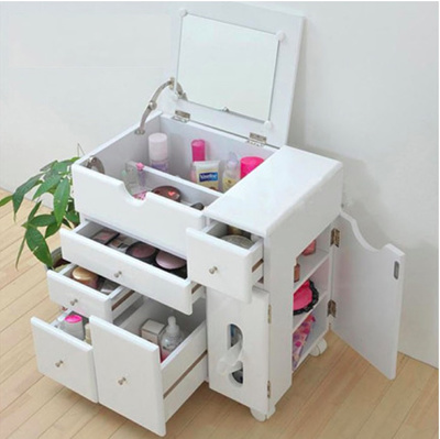 Movable Dresser Cosmetic Organizer Makeup Cabinet Movable Jewelry Storage  Mirror Drawer