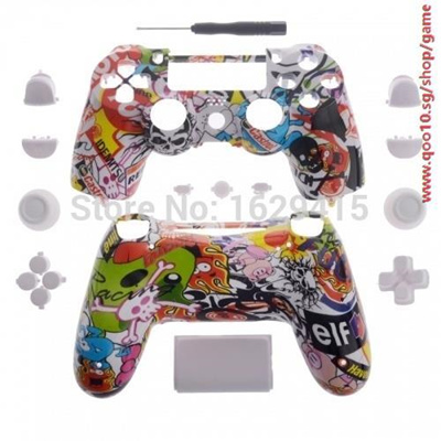 Hydro Dipped Sticker Bomb replacement Shell for SONY PLAYSTATION 4 PS4  Wireless Controller mod kit f