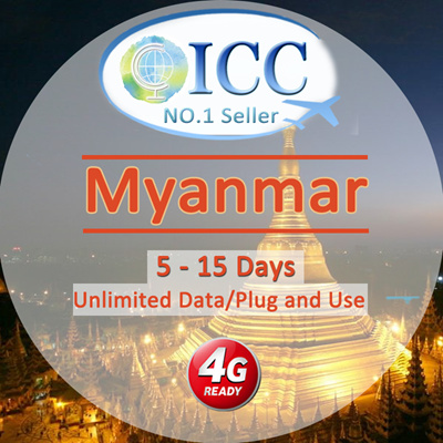 ICC◆ ICC◆【Myanmar Sim Card· 5/8/10Days】❤Plug and Use ❤2 5*/4GB/5GB* 4G/3G  Unlimited data❤