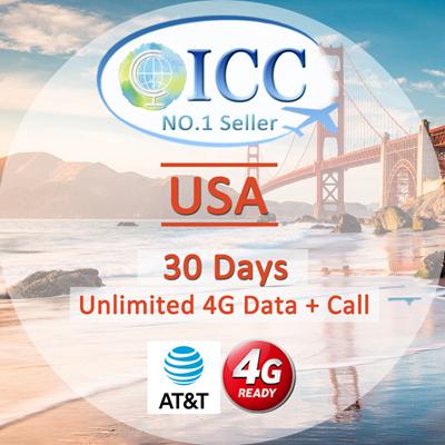 ICC◆ ICC◆【U S A America Sim Card 7-30 Days】❤ATT Local SIM(B) ❤Unlimited  4GLTE data+Unlimited Call❤