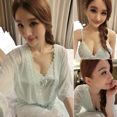 Ice silk sexy Pajamas lingerie two piece short sleeve women summer  temptation strap nightdress Night c083812b8
