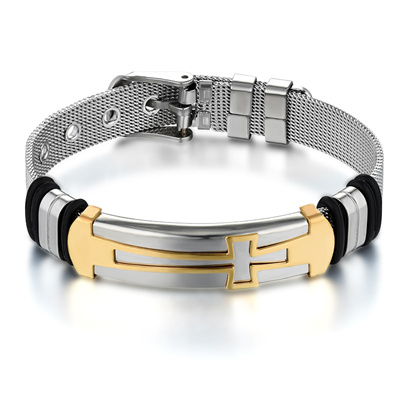 8b29552a8fa4 Qoo10 - id cross bracelet men stainless steel male gold color belt shape  bilek...   Watch   Jewelry