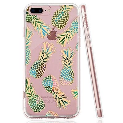 new product 4bc5f 3d68f (iFeel) iPhone 8 Plus Case, iPhone Case 7 Plus Pineapple, IFEEL Clear  Floral Design Soft TPU Bump...