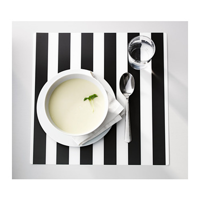 Ikea Ljuda Placemats Table Mat Black And White Striped Motif