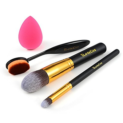 qoo10  ilovecos makeup brushes set blender sponge
