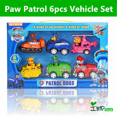 ★IMP HOUSE★[Children Gift][Paw Patrol Toy] Paw Patrol Vehicle Set with  figure sitting in the car 6pc