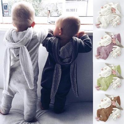 Indah Bayi Baru Lahir Bayi perempuan Anak Laki-laki Kelinci 3D Telinga Baju Monyet Hangat